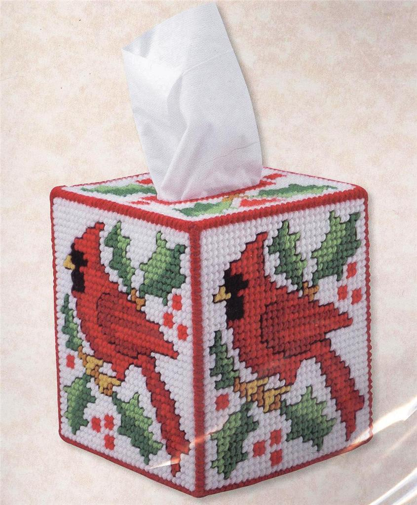 Cardinal Kleenex Tissue Box Cover Plastic Canvas Kit New