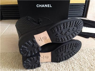 Bnib Chanel Quilted Black Motorcycle Combat Leather Boots