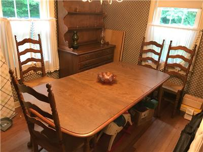 Details about Temple Stuart Pioneer Treasury Maple Dining Room Set Hutch  Cabinet Table Chairs