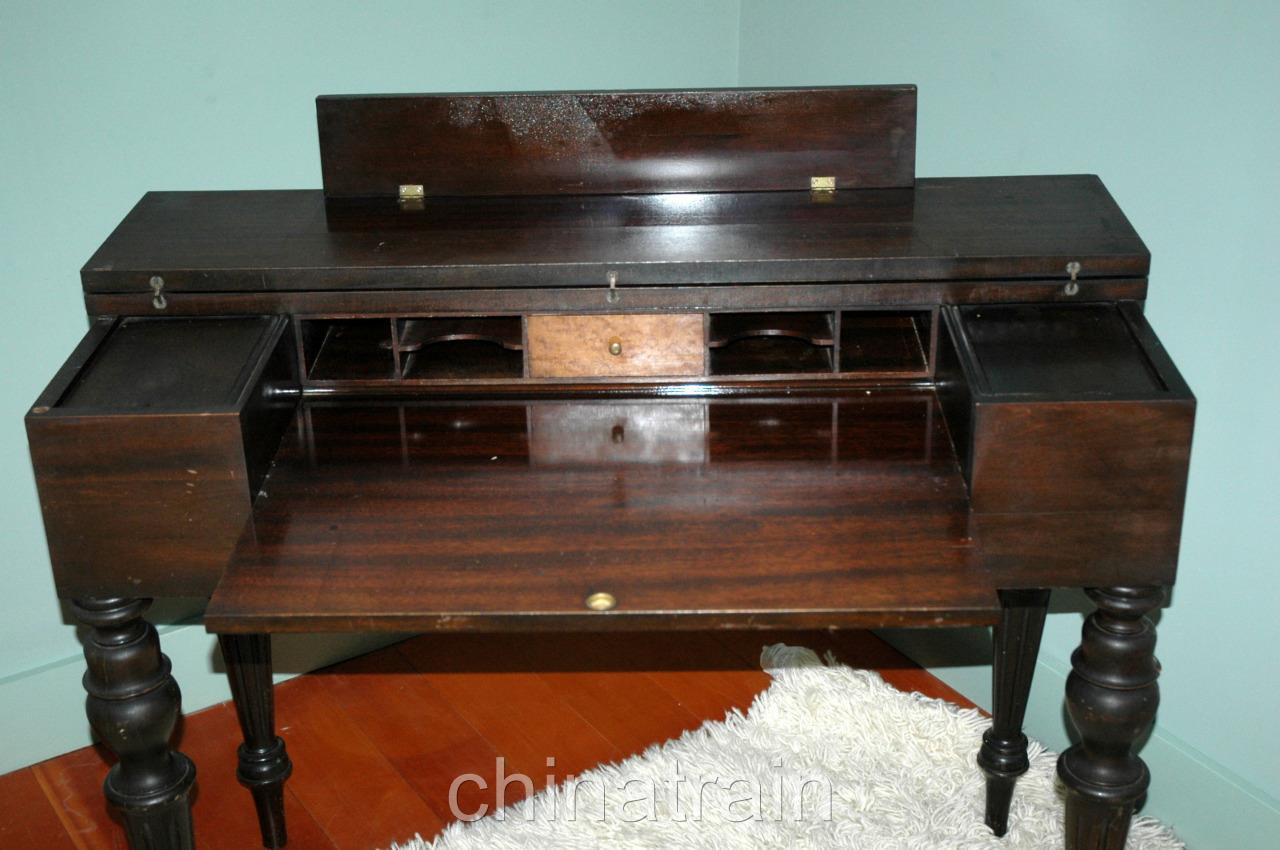 Vintage Antique Flip Top Mahogany Writing Desk Secretary Curly Maple Accents - Vintage Antique Flip Top Mahogany Writing Desk Secretary Curly Maple