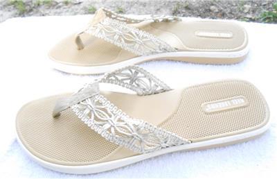 1c8f9080059f4 Details about Reel Legends Womans Neutral Macarme Look Thongs Flip Flops  Sandals Sz 10 Med New