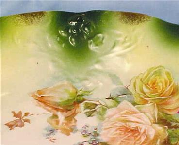 lovely roses on green decorative porcelain bowl vintage ebay. Black Bedroom Furniture Sets. Home Design Ideas