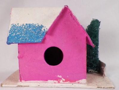 Vintage Hot Pink Christmas House Blue Roof Train Yard Putz