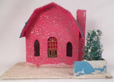 Vintage Hot Pink Christmas House W Teal Gambrel Roof Train