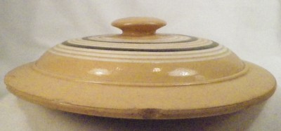 Antique Yelloware Yellowware Crock Lid Sauerkraut Brown