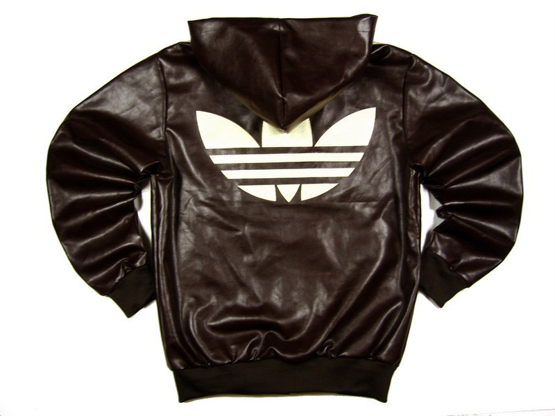 Мужская кожаная куртка с капюшоном Adidas Original.