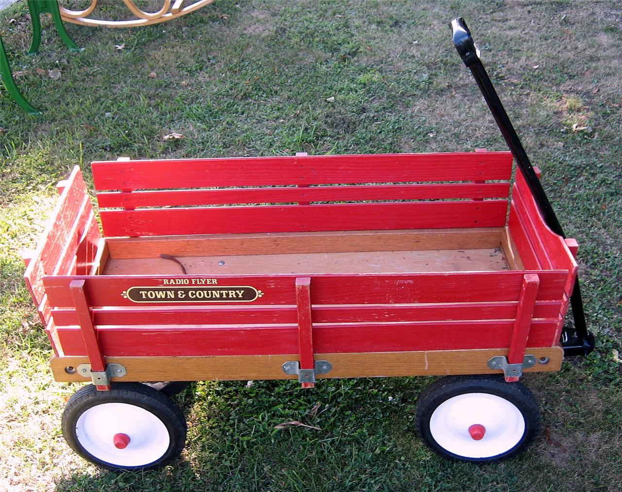 Vintage Radio Flyer Town And Country Red Wood Wagon Ebay