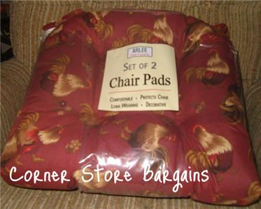 Pc Rooster Chair Pads Country Cushions Set Kitchen