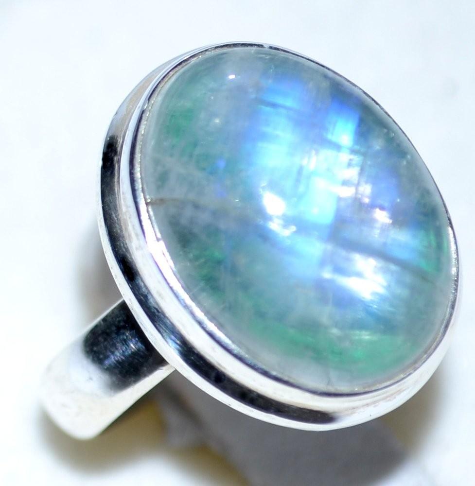Blue Green Rainbow Moonstone Rings 925 Sterling Silver