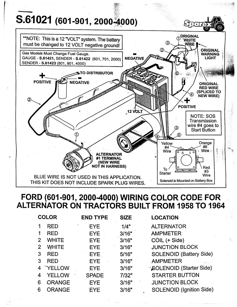 ford naa 600 601 800 801 12v tractor alternator alt wiring ... ford jubilee 6 volt wiring diagram ford naa 6 volt wiring diagram #6