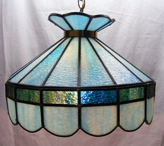 Vintage Tiffany Style Slag Stained Glass Hanging Lamp Swag