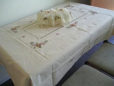 Silk Ribbon Embroidery Drawn Work Table Cloth 54x72 Ebay