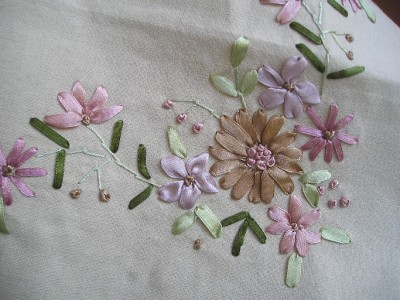 Silk Ribbon Embroidery Drawn Work Table Cloth 54 Quot X72 Quot Ebay