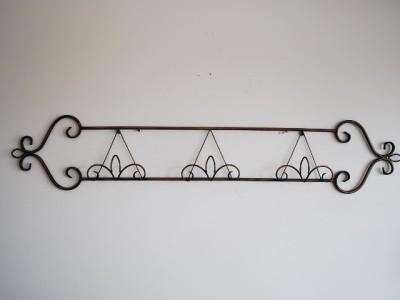 Wrought Iron Wall Plate Rack Display Antiqubrown 130cm Ebay