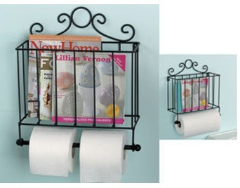 This Is A Lovely Wall Mounted Bathroom Or Kitchen Accessory It Has Simple Frame And Bit Scrolls Magazine Cooking Book Rack On Top With Toilet Roll