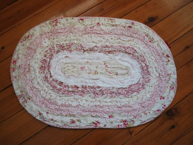 Ruffle Vintage Pink Rose Cotton Quilted Bath Rug Mat B Ebay