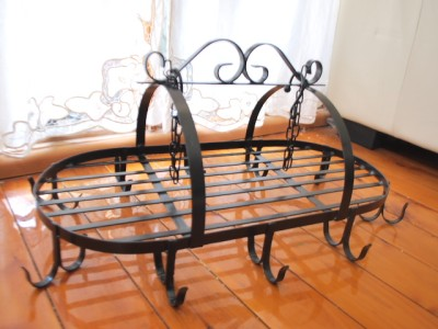 Iron French Country Style Kitchen Utensil Pot Hanging Rack