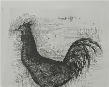 Magnificent Details About Rare Vintage 1953 Bernard Buffet Lithograph Rooster Le Coq Signed In Plate Home Interior And Landscaping Palasignezvosmurscom