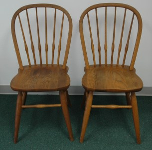 Great Mid Century Pair Of Oak Dinaire Chairs Signed