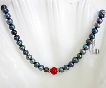 Chic White Genuine pearls/&Natural Turquoise Necklace AU SELLER n184-10