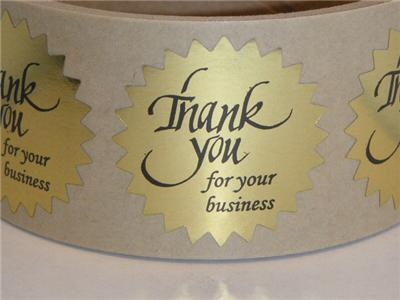 Stick these thank you for your business labels on your item packaging packing slips invoices etc labels are printed black on a premium quality bright