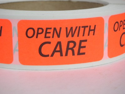 Open With Care 1x2 Warning Stickers Labels Red Fluorescent
