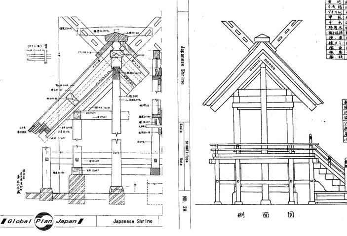 Japanese Traditional House Plan SHRINE 4Types Building Drawing
