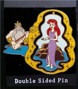 eb13effe15c Detalhes sobre Disney Little Mermaid Ariel   King Triton Spinner Feet to  Fins Pin Original Card