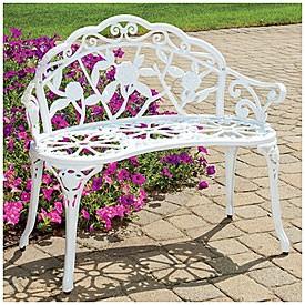 Gorgeous White Cast Iron Aluminum Park Bench Patio Deck