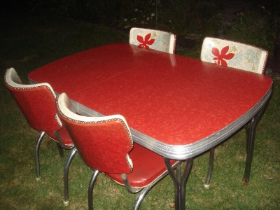 Vintage Red Formica Table Amp 5 Wingback Chairs Chrome Legs