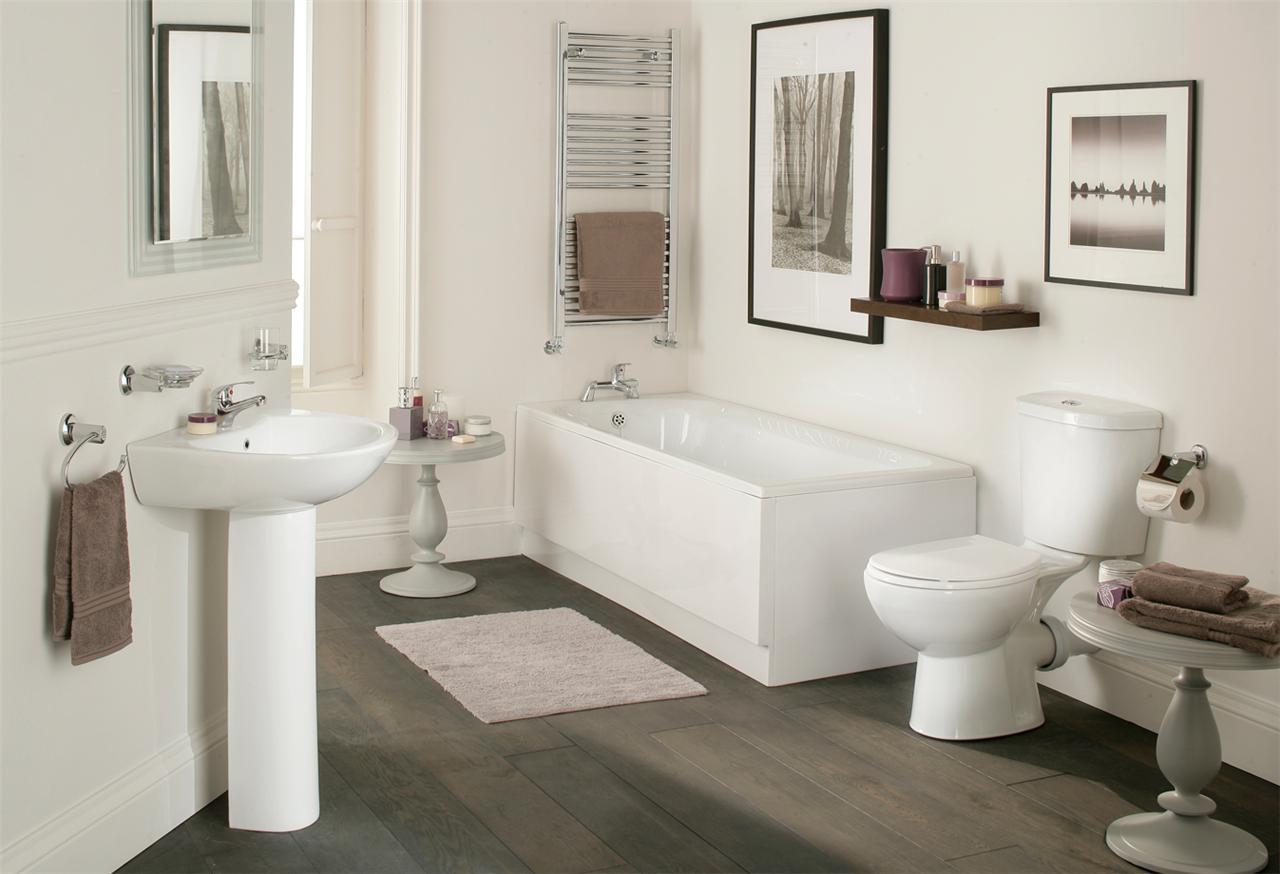Galaxy modern bathroom suite white bath toilet sink basin ...