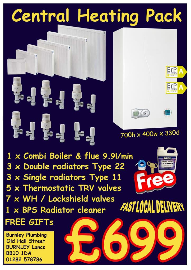 CENTRAL HEATING PACK COMBI BOILER T11 T22 RADIATOR TRV LOCKSHIELD ...
