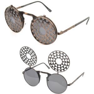 VTG Stil Steampunk Klapp Sonnenbrille runde Metall Uhrwerk Viktorianisch Brille rlKu8B