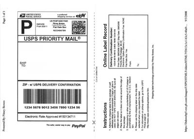 200 200 w shipping label self adhesive for paypal usps ebay for Ebay shipping label template