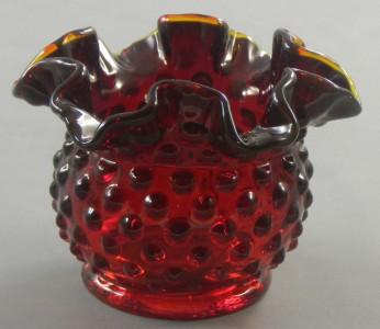 Fenton Ruby Amberina Hobnail Glass Vase Small