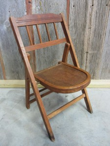 Vintage Folding Wooden Chair. This Chair Has A Very Unique Seat Design With  The Rounded Front. It Has A Lever Which Latches The Seat In Position.