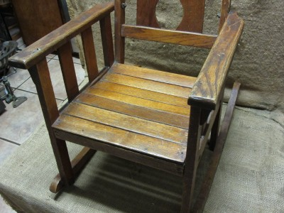 Item specifics - Vintage Childs Wooden Rocking Chair > Antique Old Stool Parlor
