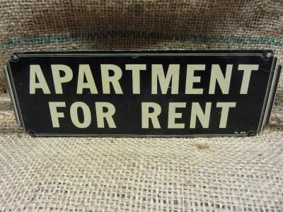 vintage metal apartment for rent sign antique store old business house 8241. Black Bedroom Furniture Sets. Home Design Ideas