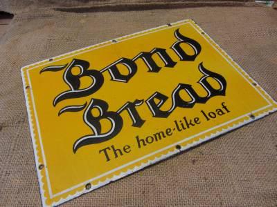 Vintage Porcelain Bond Bread Sign Antique Old Bakery Store