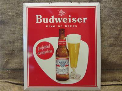 Vintage budweiser beer metal litho sign antique old brewery bud light 9426 ebay - Budweiser beer pictures ...