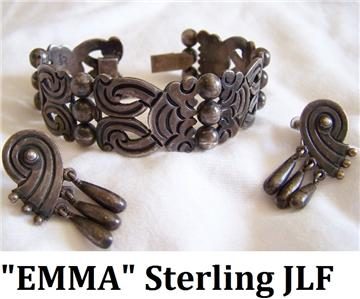 Modernist Emma Melendez Taxco Mexican Sterling Silver Flores Bracelet