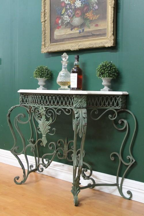 Vintage French Wrought Iron Marble Top Hall Entrance Patio