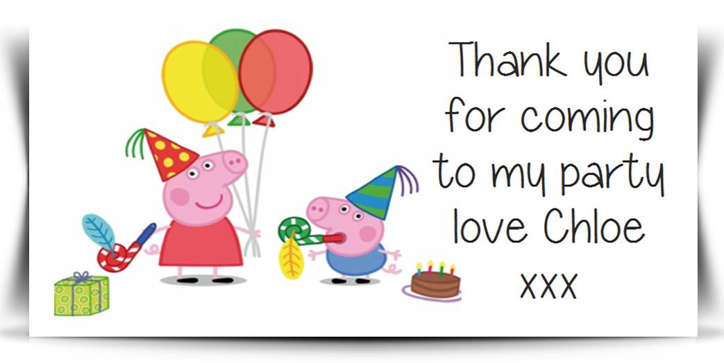 peppa pig party bag labels sweet cones seals label party thank you