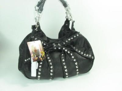 Betsey Johnson Bows Arrows Studded Leather Handbag Tote Jet New