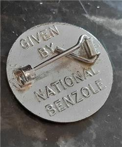 Vintage National Benzole Red Enamel Pin Badge VGC