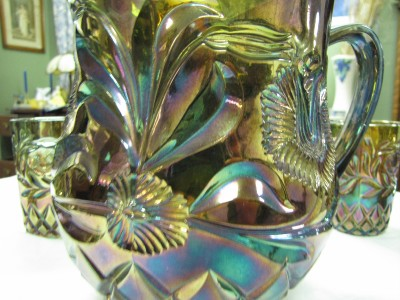 Riihimaki Western Thistle Carnival Glass Water Set Blue