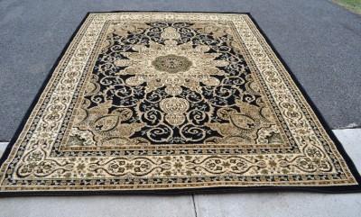 2001 Burgundy Beige Black Oriental Area Rug Carpet Persian