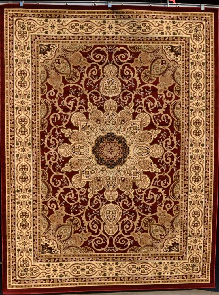 2001 Burgundy Beige Black Isfahan Oriental Area Rug Carpet