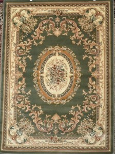 Sage Green Ivory Floral Victorian Oriental Floral Area