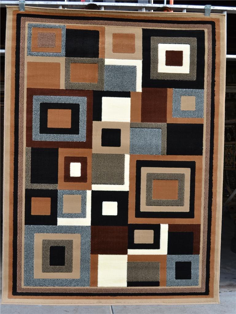 Beige Brown Gray Black 8x11 Modern Contemporary Abstract